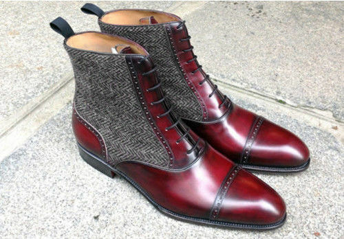 Mens Handmade Boots Ankle High Burgundy Leather Tweed Formal Casual Dress Boots