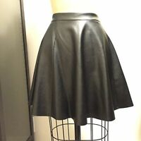 Vakko Black Faux Vegan Leather Circle Skater Skirt Sz M