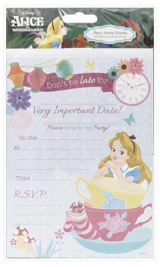 Disney Alice In Wonderland Invitations 20 Sheets Inc Envelopes Girls