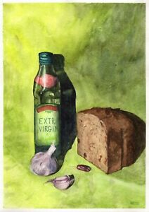 Still-Life-With-Bread-original-watercolor-kitchen-painting-garlic-pepper-oil-art