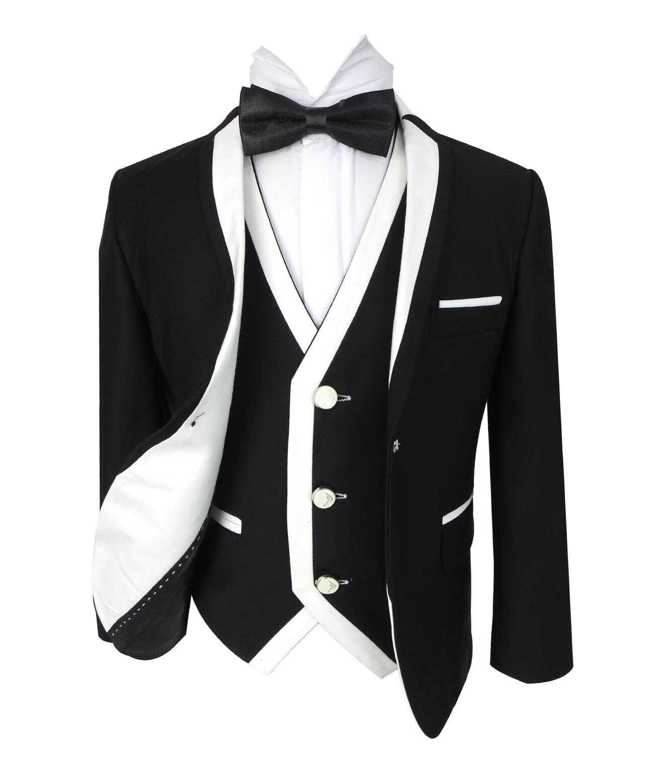 SIRRI Exclusive Black /& White Single Button Boys Suit Wedding Kids  Suits