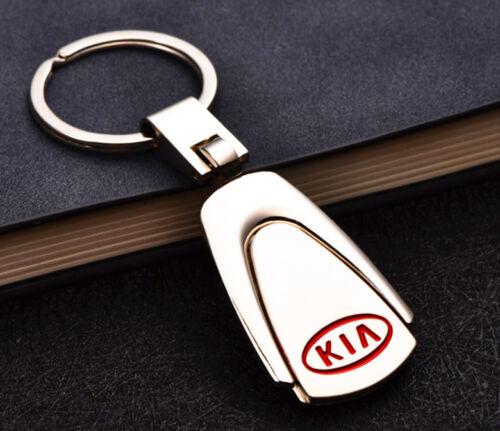 Silver Zinc Alloy Car Logo Keyring 360° Spin Key Chains Holder for KIA