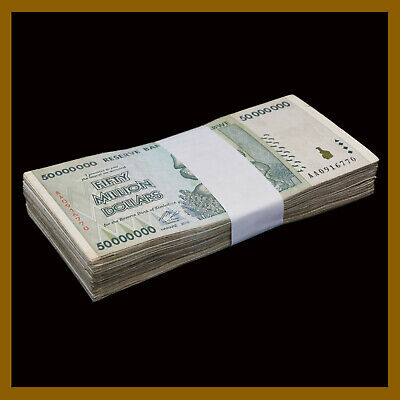 25PCS ¼ Bundle AA 2008 Currency 50 Million Zimbabwe Dollars x 25 Banknotes Lot