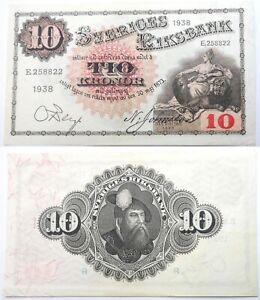 1938-Sveriges-Riksbank-Sweden-Almost-UNC-Banknote-of-10-kronor-SN-E258822-Gustav