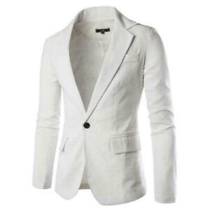 NEW-Men-039-s-Casual-Jacket-Slim-Spring-Single-Breasted-Coat-White