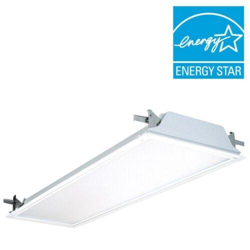 2-Light Flanged Troffer Ballast Drywall Ceiling Fixture White Fluorescent Light
