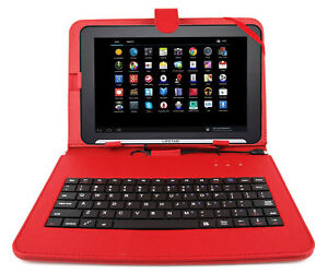 Premium-QWERTY-Keyboard-Folio-Case-in-Red-for-Medion-Lifetab-E10310
