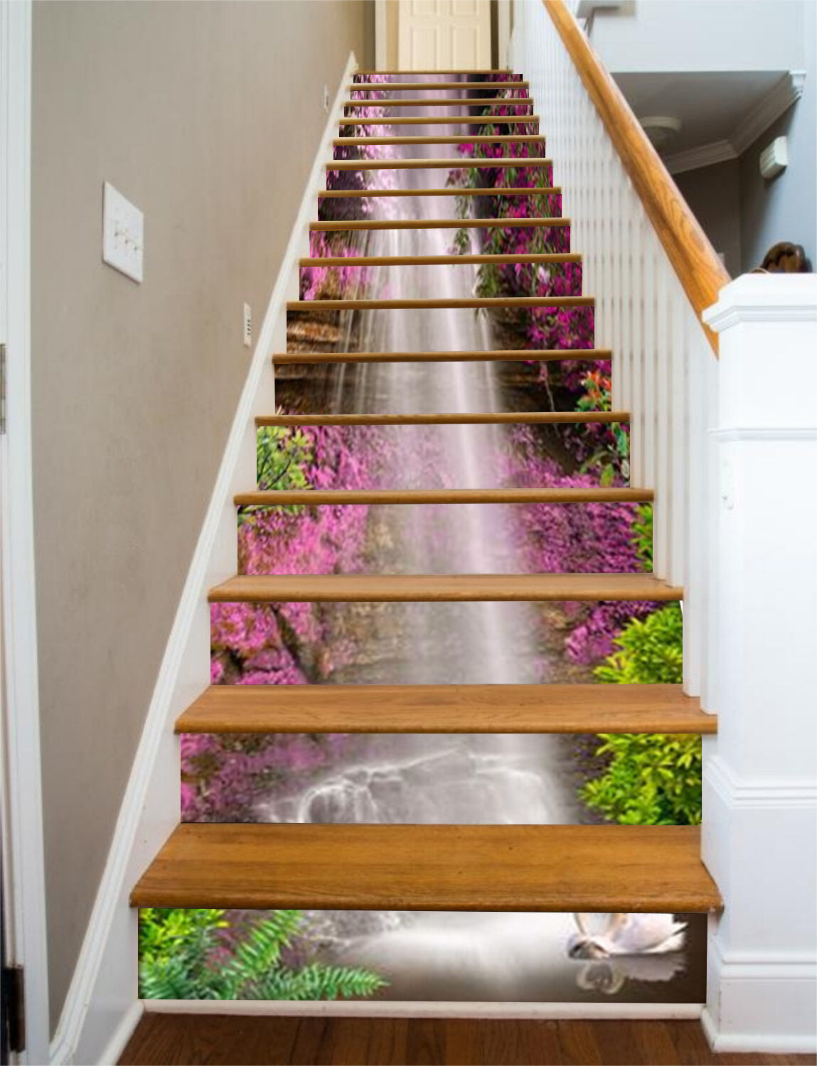 3D rot flower river Stair Risers Decoration Photo Mural Vinyl Decal Wallpaper AU