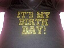 Item 1 Gold Rhinestone Its My Birthday Shirt Womens T Shirts Ladies Girl