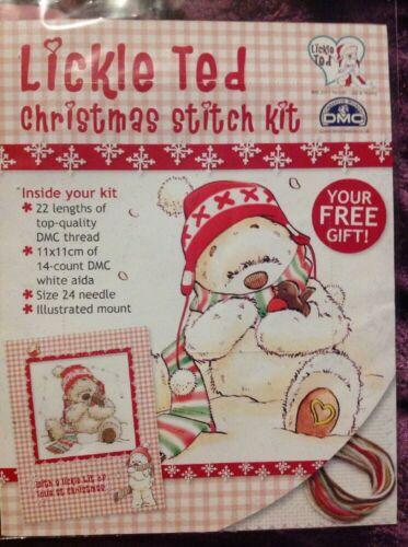 Lickle Ted Oso De Peluche Robin Sombrero y Bufanda Navidad Kit Punto De Cruz