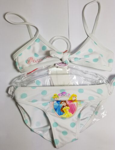 DISNEY Principessa Ragazze Costume Da Bagno Bikini Nuoto Puntini Bianchi Costume Età 3 anni