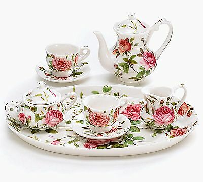 Pink Roses Porcelain Miniature Tea Set Saddlebrook burton+Burton Gift Boxed
