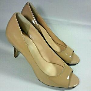 Kate Spade Patent Leather Peep Toe Heels in Nude & Tan