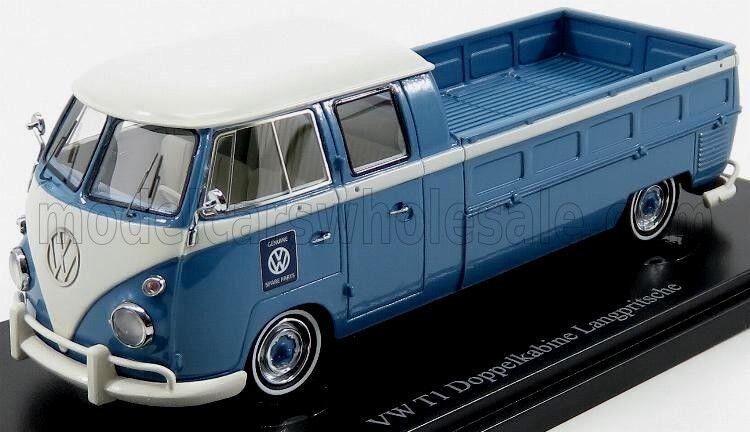 Resina Maravilloso-MODELCAR Volkswagen T1 1963 doble cabina Pickup-azul - 1 43