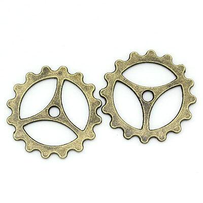 50 Spacer Beads Perlen Zahnrad Bronzefarben 23mm K02944