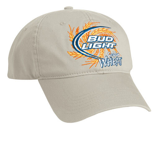 Bud Light Golden Wheat Khaki Twill Hat 100/% Cotton Free Shipping in the USA 2