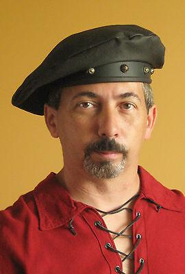 Medieval Celtic Renaissance SCA Larp Tudor Beret Leather Hat