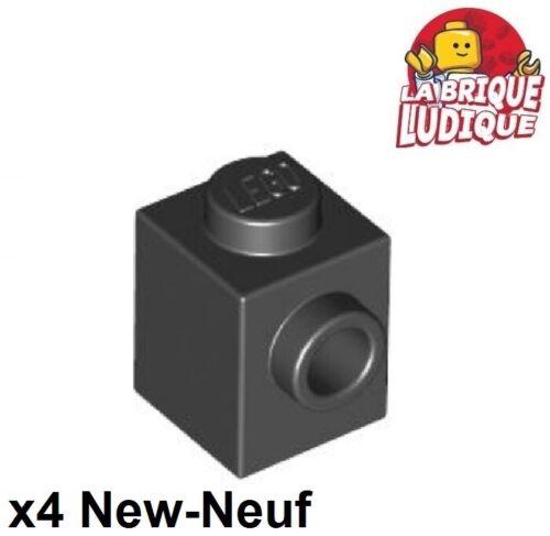 Lego 4x Lego Brick Modified 1x1 Stud 1 Side Schwarz Schwarz 87087 Neu