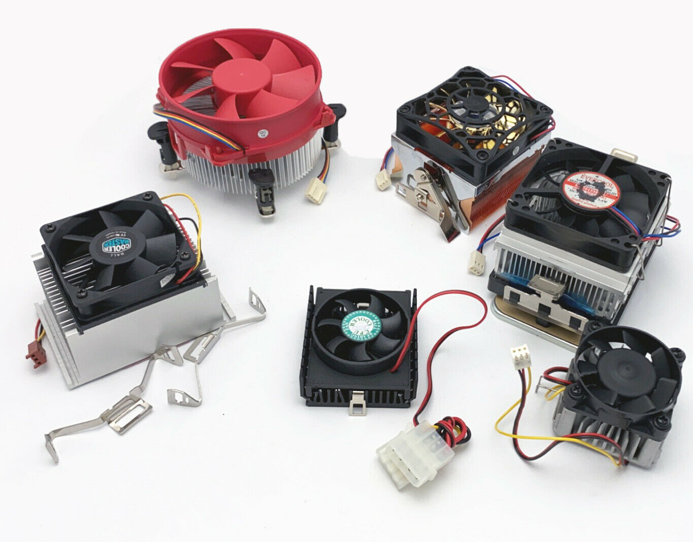Mixed Lot of 6pcs PC System CPU Coolers w/ Cooling Fan/Heatsink 3pin/4-pin Molex