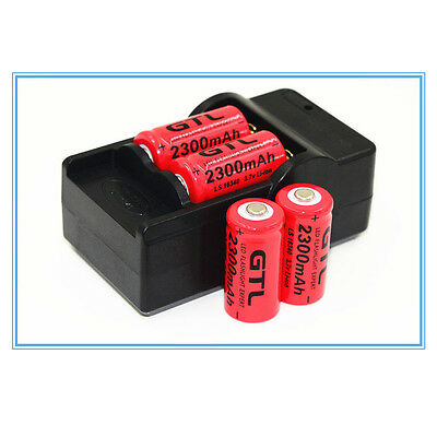 4x 2300mAh 16340 Rechargeable Red Battery For LED Flashlight+CR123A Charger EU