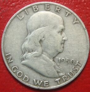 1950-D-Franklin-Half-Dollar-Circulated-90-Silver-US-Coin