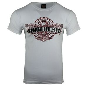 Men-s-Harley-Davidson-Graphic-S-S-White-T-shirts-Summer-Holiday-Tops-101
