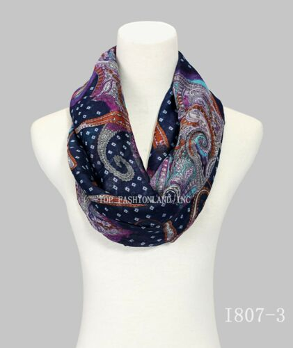 New Style Paisley Print Infinity Scarf for Spring//Summer//Fall
