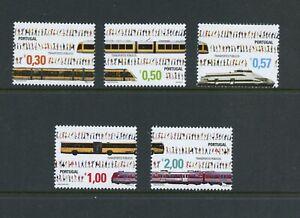 A431-Portugal-2005-transport-trains-buses-5v-MNH