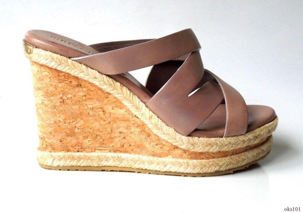 articoli promozionali New  565 JIMMY CHOO 'Prisma' taupe leather open-toe open-toe open-toe logo wedges scarpe 34.5 4.5  miglior servizio
