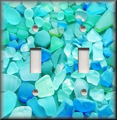 Metal Light Switch Plate Cover - Beautiful Beach Glass Blues Bathroom Spa Decor