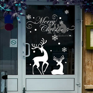 Merry christmas reindeer vinyl mural wall sticker room for Christmas wall mural plastic