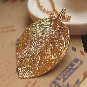 Womens-Retro-Lucky-Golden-Leaf-Pendant-Long-Chain-Sweater-Necklace-Jewelry-Gift