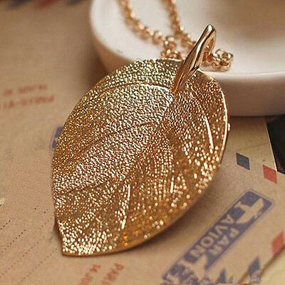 Womens Retro Lucky Golden Leaf Pendant Long Chain Sweater Necklace Jewelry Gift