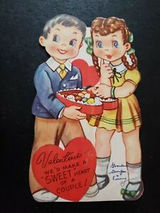 Vtg Valentine Greeting Card Diecut Mechanical Boy Girl Heart Chocolate Candy Box