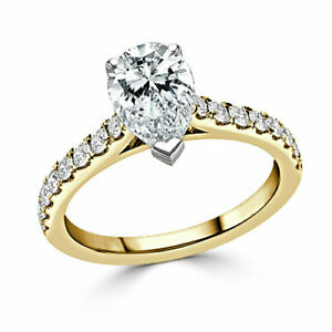 2.35 Ct Pear Moissanite Engagement Ring Hallmarked 18K Yellow Gold ring Size 7