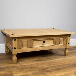 CORONA Coffee Table 1 Drawer Distressed Waxed Mexican Pine by Home Discount8