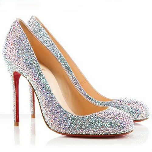save off 9b016 6be1e Christian Louboutin Crystal Fifi STRASS 100 Suede Burma - Aurora Boreale It  41
