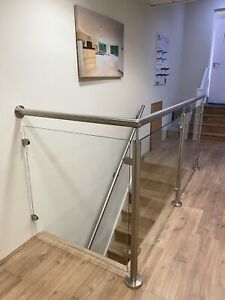 GLASS BANNISTER BRUSHED CHROME-STAIRS-RAILING-BANNISTER ...