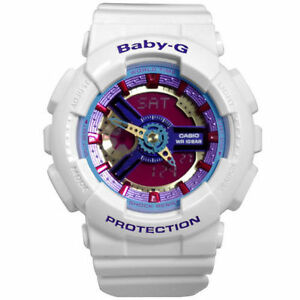 Casio-Baby-G-Womens-Wrist-Watch-BA112-7A-BA-112-7ACR-Digi-Analog-White-Neon-New