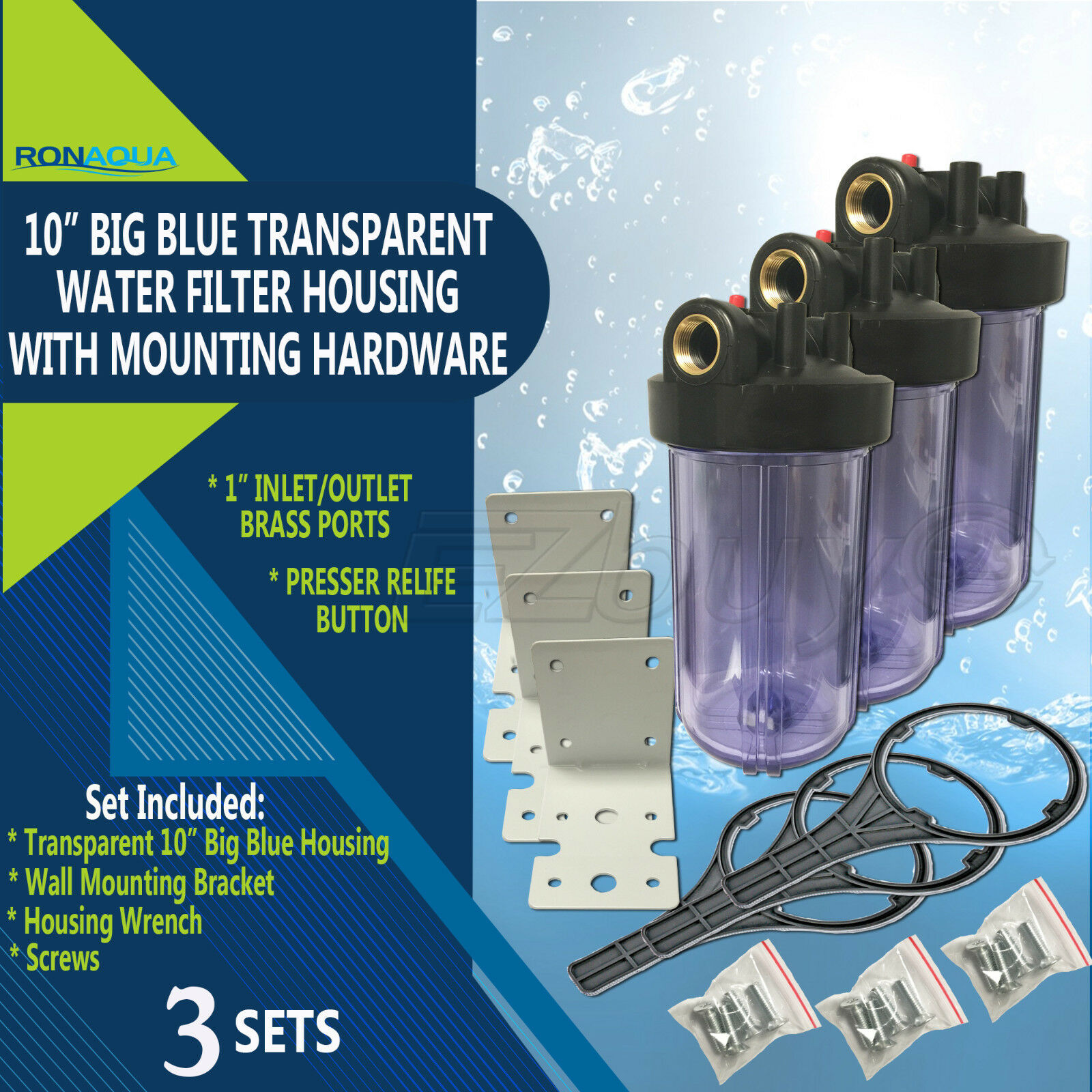 3 Transparent Big bluee Housings 10  for Whole House Water Filtration System.