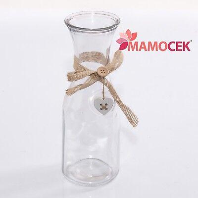 Fornito Bottiglia Caraffa Brocca Vetro Acqua Vino Vaso Fiori H27 Decorazione Casa Shabby Aspetto Estetico