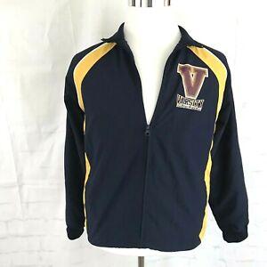 VTG-Athletech-Women-039-s-Windbreaker-Rain-Track-Jacket-Mesh-Lining-Blue-Gold-sz-XL