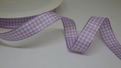 free postage Pale Blue Gingham Check Ribbon 25mm in 2m or 3m cut lengths