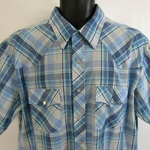 Plainsman-Pearl-Snap-Plaid-Shirt-XLT-Western-Rockabilly-Rodeo-Extra-Large-Tails