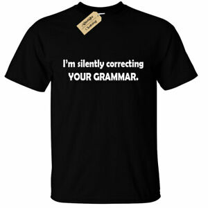 KIDS-BOYS-GIRLS-I-039-m-silently-correcting-your-grammar-T-Shirt-funny-joke-top