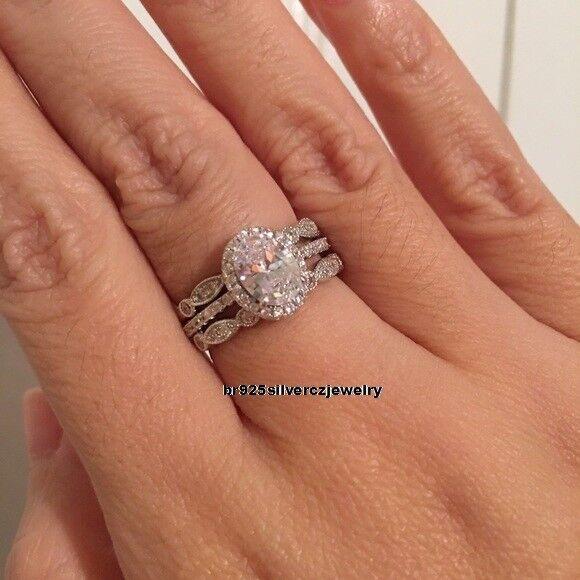 Ladies Oval Cut Diamond Engagement Ring Wedding Bridal Set 14K White gold Finish