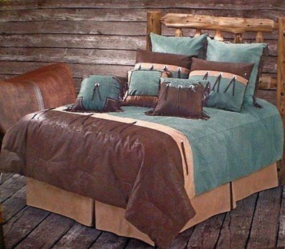 San Juan - Rustic Western 4 Pc Twin Comforter Bedding Set- Turquoise, Brown &Tan