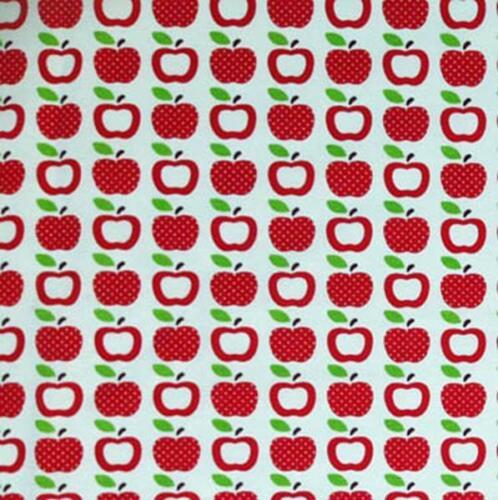Pommes fraîches fruité rouge dans les lignes alimentaire cotton linen look tissu