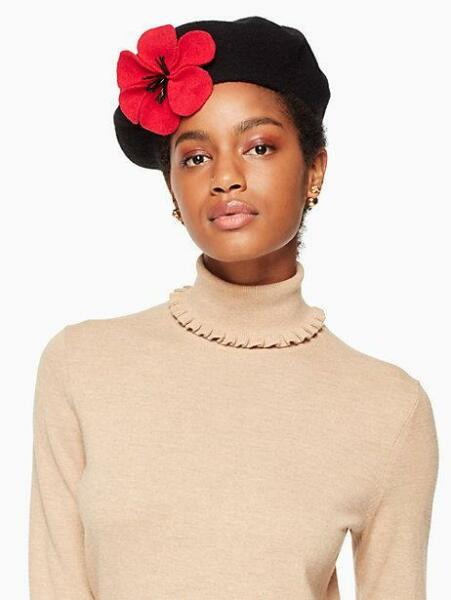 dd37f8db989ab Kate Spade Red Floral Poppy Accented Black Felt Wool Beret Round Flat Hat  for sale online
