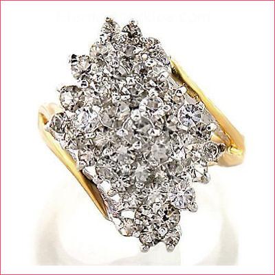 HUGE 3.0 CARAT DIAMOND CLUSTER 14K YELLOW GOLD VINTAGE COCKTAIL RING